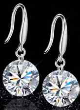 925 Sterling Silver Drop and Stud Round Crystal Earrings CZ Womens Ladies