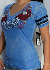 Sinful by Affliction Woman's - BABY LOVE - Burnout V-Neck T-Shirt - Light Blue