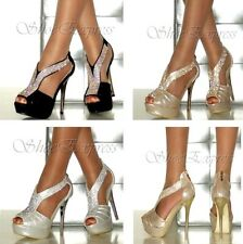 LADIES WOMENS HIGH HEEL DIAMANTE T BAR PEEP TOE METALIC HEEL PARTY BRIDAL SHOES