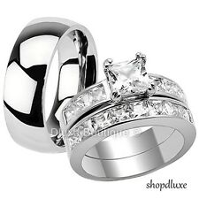 His & Hers 3 Piece Stainless Steel CZ Engagement Wedding Ring Band Set