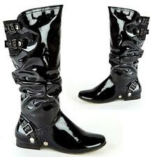 Ladies Womens Faux Leather Mid Calf Slouch Fashion Biker Riding Flat Boots Shoes