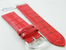 HQ 22/20 MM RED GLOSSY ITALY CROC GRAIN LEATHER WATCH BAND MULTIPLE SIZES STRAP