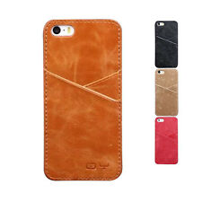 New Style Cowhide Leather Back Cover Case with Card Slots for iphone 5G 5S