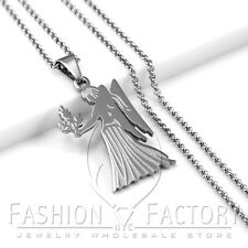 Women's Girl's Stainless Steel Silver Link Chain Necklace Cute Angel Pendant P72