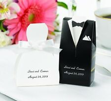 Bride Groom Black Brown Tuxedo White Ivory Dress Wedding Favor Container Boxes