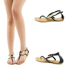 OPEN TOE THONG T STRAP GOLD WING EMBELLISHED GLADIATOR WOMEN FLAT SANDAL SHOE US