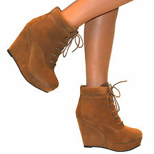 WOMENS SUEDE WEDGE HIGH HEEL PLATFORM LACE UP SHOES ANKLE BOOTS SIZE WINTER