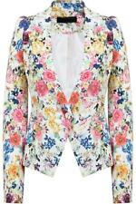 Ladies Women Cream Floral Printed Single Button Blazer Summer Jacket Size 8-14