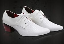 New fashion mens dress pointed toe lace Comfort  faux leather cuban heel shoes