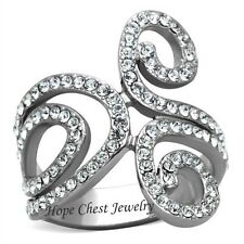 WOMEN'S SILVER STAINLESS STEEL SWIRL PAISLEY DESIGN CRYSTAL FASHION RING SZ 5-10