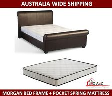 New PU Leather Brown Bed Frame & Pocket Spring Queen Mattress **FREE SHIPPING**