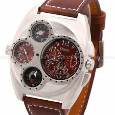 OULM Cool Military Army Leather Sports Hours Mens Dual Time Zones Wrist Watch