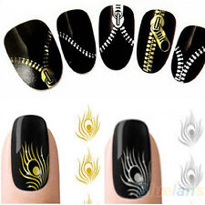 Nail Art Peacock Feather Metallic Zipper Stickers Nail Wraps Water Decals Retro