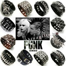 Trendy Rock Punk Leather Rivet Bracelets Rings Gothic Bangle Wristband Jewelry