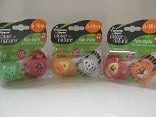 """TOMMEE TIPPEE NEW RANGE """"FUN STYLE"""" SOOTHERS 6-18m 2 IN PACK BOY/GIRL  BPA FREE"""