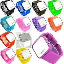 Red LED Digital Calendar Day/Date Silicone TPU Sport Mirror Faceless Jelly Watch