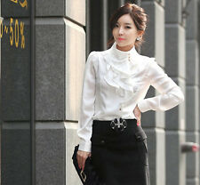 Fashion Synthetic silk new arrival royal white ruffle sweet tops WOMEN SHIRT new