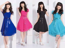 Lady Style Tiered Sleeve Chiffon Knee-Length Pleated Slim Waist Dress BKLB++