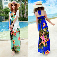 Fashion Women Boho Floral Halter Summer Beach Empire Waist Maxi Long Party Dress