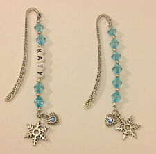 FROZEN BOOK MARK WITH TWO CHARMS  - PLAIN or PERSONALISED - SAME DAY POSTAGE