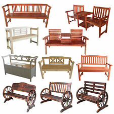 FoxHunter 2/3 Seater Wooden Bench Chair Table Outdoor furniture Garden Patio New