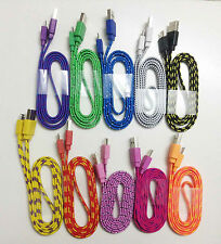 1M 3FT Flat Micro USB Braided Data Sync Charging Cable Wholesale Lot For Samsung