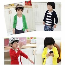 Candy Color Baby Kids Unisex Cotton  Solid Cardigan Outwear Tops Boys Girls J161
