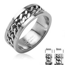 CHAIN LINK SPINNER 6mm/8mm Stainless Steel Wedding Band Ring/ Multi Sizes
