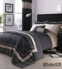Luxury Geo Duvet Quilt Cover Set Black Natural, Single Double King Super King