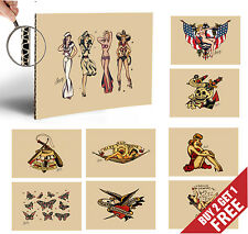 Sailor Jerry légende Tattoo Artist Vintage Poster options d'impression A4 HOME WALL DECO