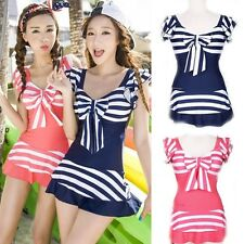 2014 One Piece Stripe Thin Swimwear Schoolgirl Cute Spa Swimsuit 2Colors