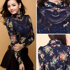 Fashion Women High Collar Lace Floral Casual Pullover Hollow Blouse T shirt Tops