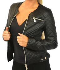 Ladies PU Leather Look Cropped Biker Jacket Womens Sizes UK 8 -14