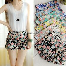 ESY1 Girl Blooming Flowers Floral Print High Elastic Waist Mini Short Pants+Belt