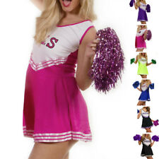 Ladies High Scholl Cheerleader Uniform Fancy Dress Musical Glee Costume Pom Poms