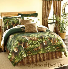 SAFARI Brown LEOPARD CHEETAH CATS Animal Print green Palm COMFORTER SET All size