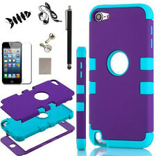 For iPod Touch 5th & 6th Gen Hard Soft Rubber Hybrid Armor Impact Case w/ Flim
