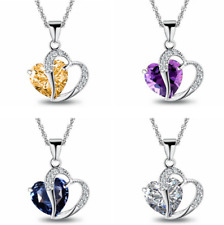 925 Sterling Silver Amethyst Crystal Heart Pendant Necklace Chain Blue Box P4