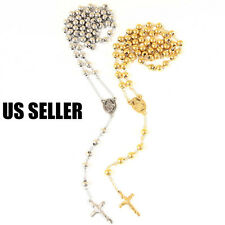 "Men's Stainless Steel Heavy 8mm 30""+5.5"" Gold/Silver Beads Rosary Necklace"