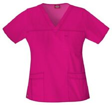 Dickies Scrubs 817455 V Neck Scrub Top Dickies Youtility Jr Fit Hot Pink