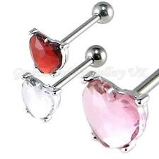 Large Heart Crystal & Surgical steel Tongue Bar 14G (1.6 x 16mm) IN 3 COLOURS