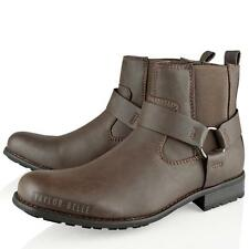 MENS ARMY COMBAT SHOES BIKER SLIP ON ANKLE BROWN CHELSEA  BOOTS SHOES SIZE  7-12