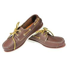 JUNIOR TIMBERLAND KIDS PEAK ISLAND 2 EYE BROWN LEATHER BOAT LACE UP SHOES SIZE