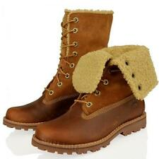 "JUNIOR TIMBERLAND AUTHENTIC 6"" FAUX SHEARLING KIDS RUST ROLL DOWN ANKLE BOOTS"