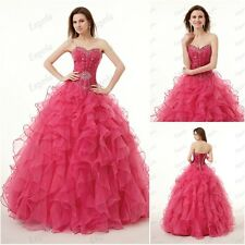 Stock Pink Quinceanera dress Formal Long Party Dresses Ball Prom Gown Pageant