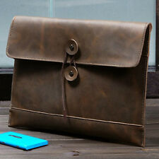 NEW Men's Crazy Horse Saddle Leather Briefcase Handbag File Package Envelope Bag