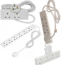 2 4 6 WAY 2M 5M EXTENSION LEADS MULTI SOCKETS ADAPTERS GANG PLUG IN UK MAINS NEW