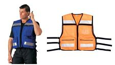 HI-VIS Safety Vest High Visibility Orange Rescue EMS Blue Reflective Poly Cloth