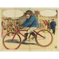 NEW! Vintage Victorian Monkey Chimpanzee Riding Bike Art Print Poster