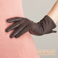 Women Lady's Winter lambskin soft Leather Warm Gloves long fleece Lined 6 color
